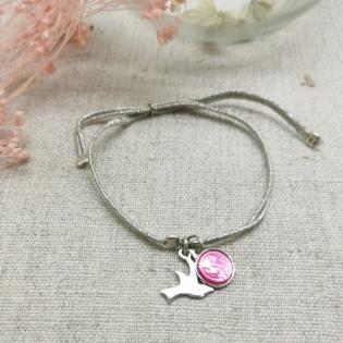 Bracelet lien argenté croix colombe et médaille