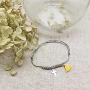 Bracelet dizainier croix argent et pompon