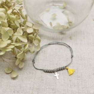 Bracelet dizennier croix argent et pompon