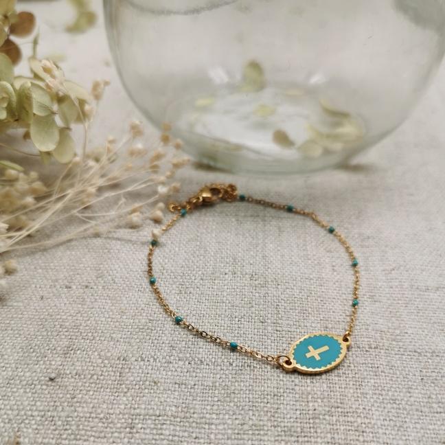 Bracelet religeux médaille émaillée colorée