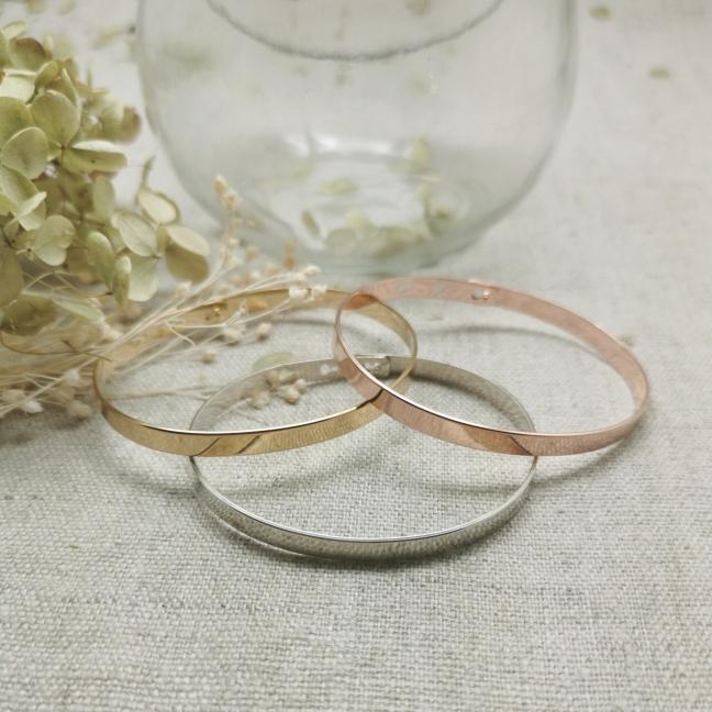 Bracelet jonc Argent ou Plaqué Or