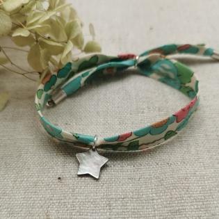 Bracelet liberty breloque nacre etoile