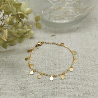 Bracelet chaîne plaqué Or mini boules et breloques