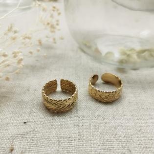 Bague anneau mat motif feuillage
