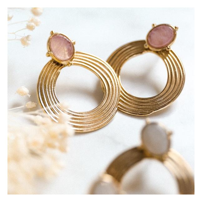 """Boucle d'oreille """"deux en un"""" pierre et anneaux"""