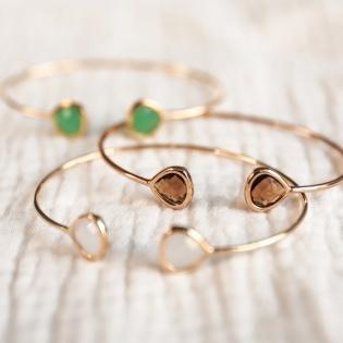 Bracelet jonc ouvert pierre colorés