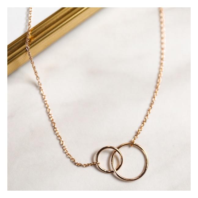 Collier deux petits anneaux sur chaine plaqué Or 42cm