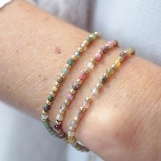Bracelet perles en pierre et doré