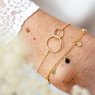 Bracelet deux anneaux Argent ou Plaqué Or