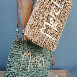 "Sac rectangulaire paille ""Merci"""