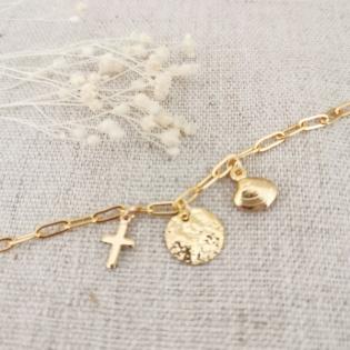 Bracelet chaine maille et 3 breloques