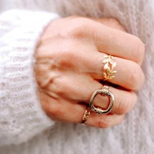 Bague plaqué Or motif chaîne oval