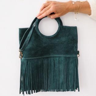 sac à franges bandoulière anse ronde en cuir