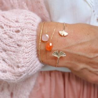 Bracelet jonc ouvert feuille Ginkgo