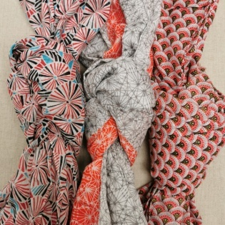 Foulard coton imprimé coloris orange et rouge