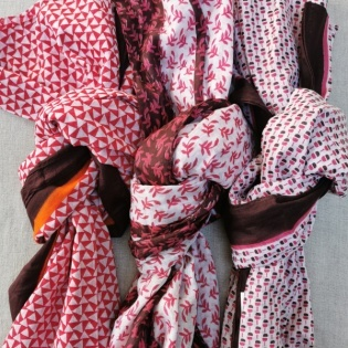 Foulard coton imprimé coloris rose