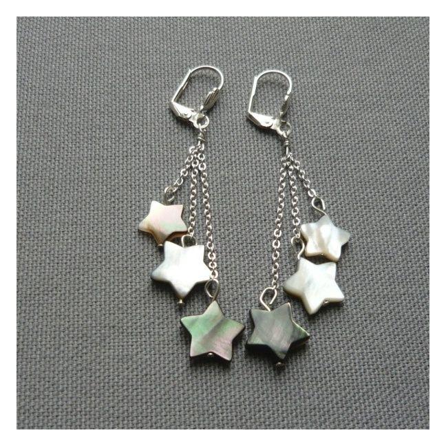 boucles d oreilles longues trois chaînes et étoiles nacre. clip, percée bbd2e6d32c57